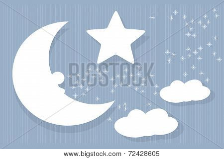 abstract night sky with moon, star and clouds