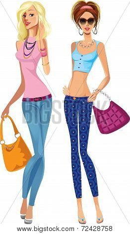fashion girls in trousers