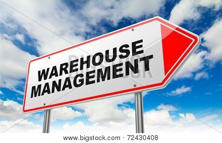 Warehouse Management on Red Road Sign.