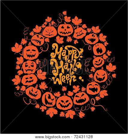 Halloween Card - Orange Sillouette Of Pumpkins On Black Background. Card With Calligraphic Text Happ