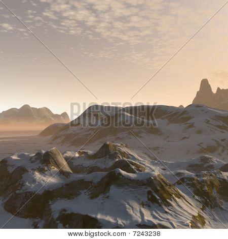 3D Fantasy Winter Mountains Landscape