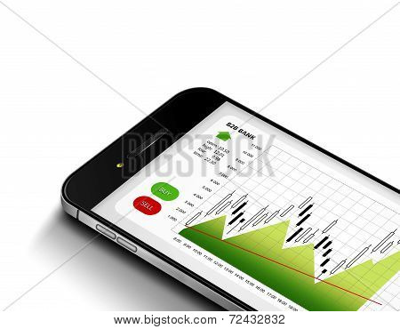 Mobile Phone With Stock Market Chart Isolated Over White