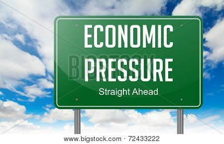 Economic Ppressure on Highway Signpost.