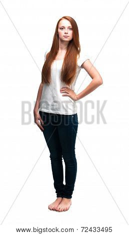 Beautiful Girl In A White T-shirt. Isolated On White Background