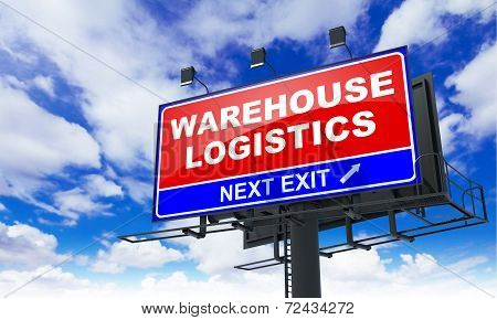 Warehouse Logistics  on Red Billboard.