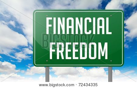 Financial Freedom on Highway Signpost.