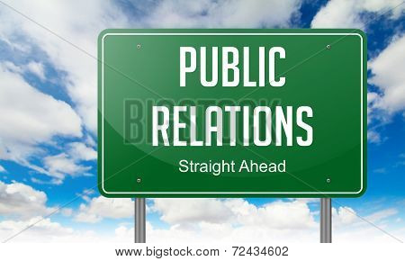Public Relations on Highway Signpost.