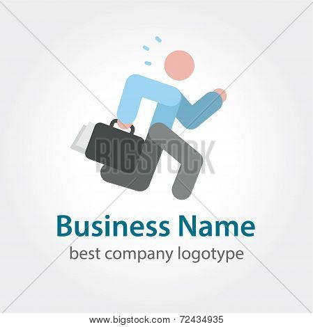 Running businessman vector icon