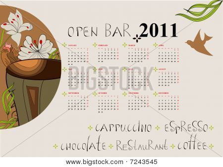 Calendar for 2011 with a cup of coffee