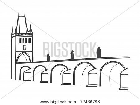 Drawing Of Historical Charles Bridge Prague