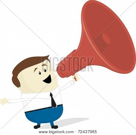 businessman cartoon with bullhorn