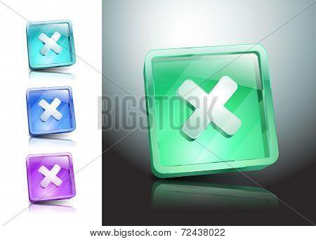 glass icons set close no cancel delete