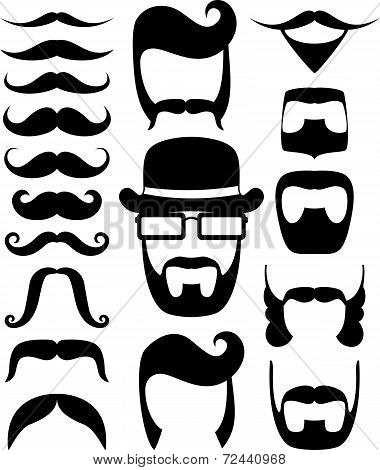 moustaches and beard silhouettes