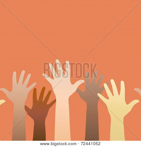 Hands Raised Up. Concept Of Volunteerism, Multi-ethnicity, Equality, Racial And Social Issues.