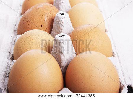 hens eggs in egg carton