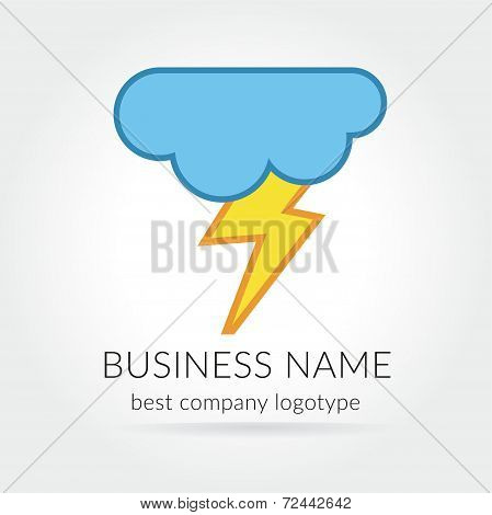 Colored lightning logo logotype with cloud