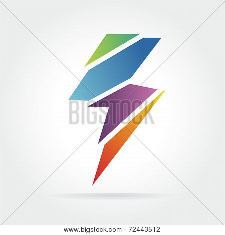 Colored lightning logo icon