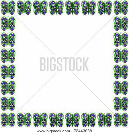 Green-Purple-White Butterfly Frame