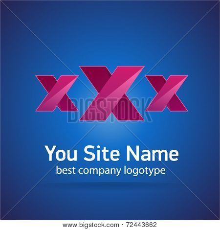 XXX colored vector sexy logotype isolated