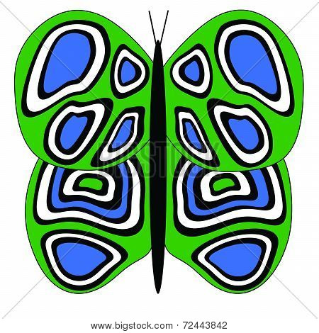 Green-Blue-White Butterfly