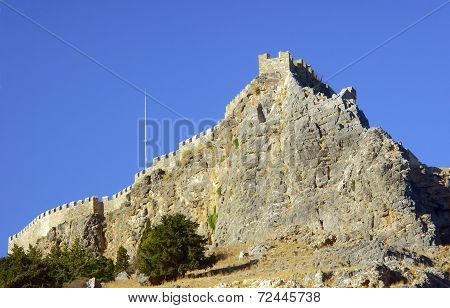 Medieval fortifications on top of the rock