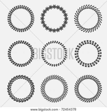 Set Of Abstract Silhouette Round Leaves Laurel Foliate Wheat Wreaths. Flat Design.