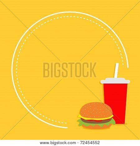 Hamburger And Soda With Straw. Cinema Round Frame In Flat Dsign Style.