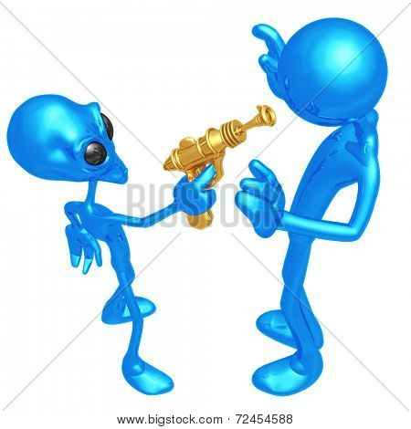 Alien Invader With Retro Raygun