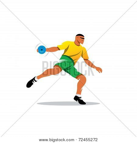 Discus Throwing Vector Sign