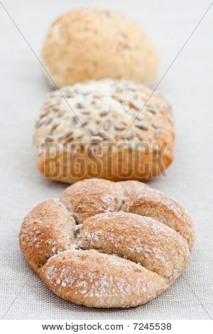 Three Bread Buns In A Row
