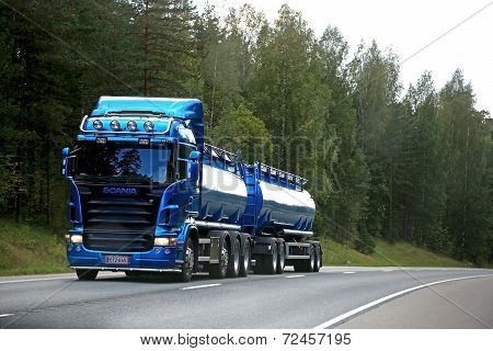 Blue Scania Tank Truck On The Road