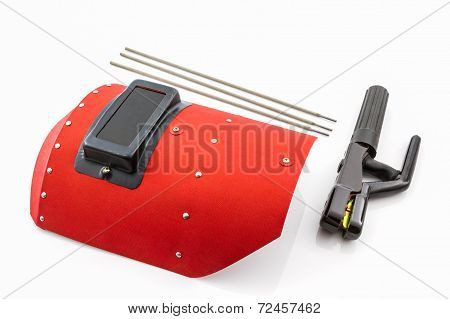 Red Protective Screen And Rod-holder With Welding Electrodes Wire.