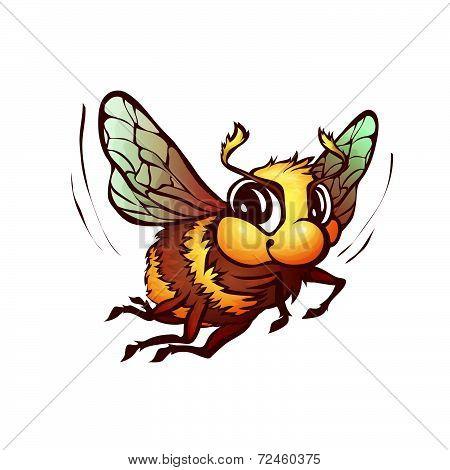 Vector illustration of bumblebee in cartoon style
