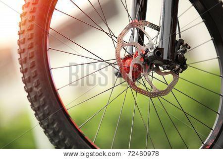 closeup of balck mountain bike tyre outdoor