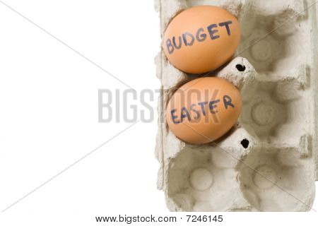 Budget Easter Eggs In Paper Tray Isolated