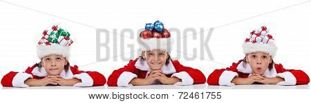 Christmas Banner With Kids Wearing Santa Hats Full Of Holidays Items
