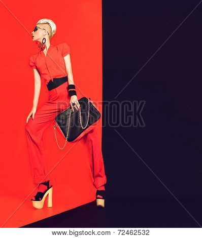 Portrait of glamorous lady Black and red luxurious style