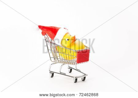 Caddy For Shopping With Christmas Duck