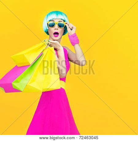 crazy fashion shopping girl