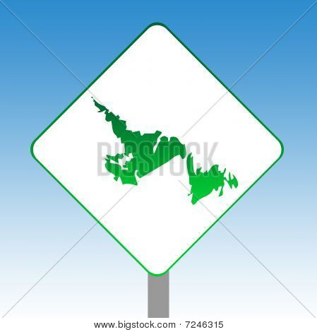 Newfoundland Map Road Sign