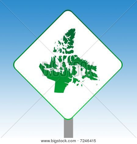 Nanavut Map Road Sign
