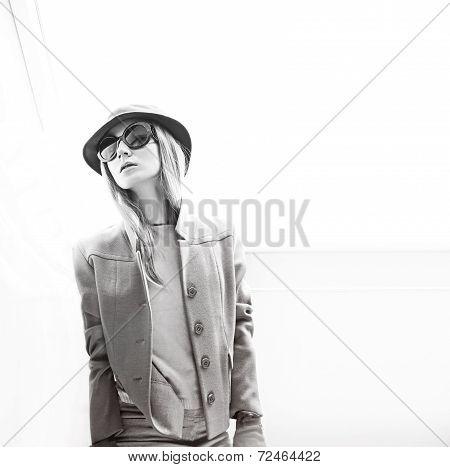 Stylish lady in fashionable hat