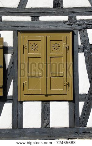 Wooden shutters of a half-timbered house