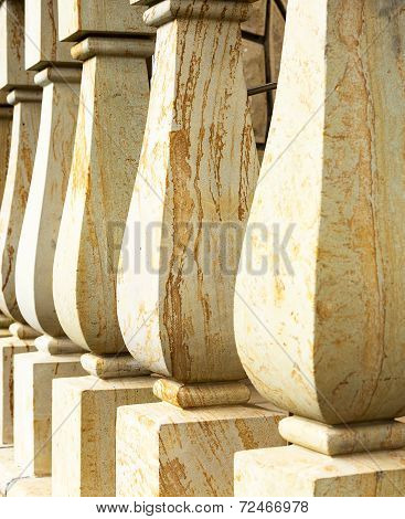 Close Up Marble Baluster Columns