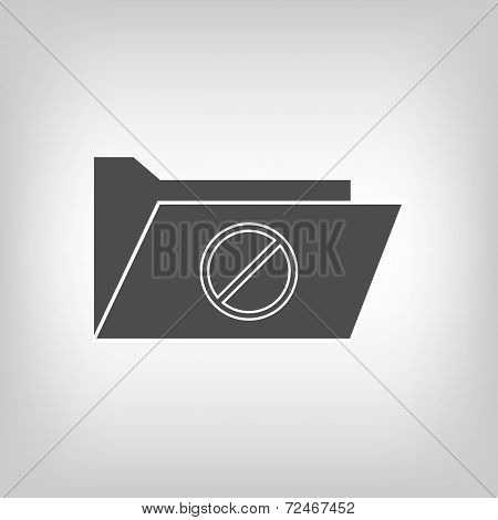 Computer folder with deny sign