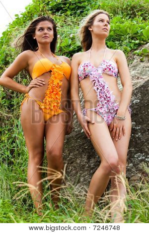 Young Women Wearing Bikinis And Standing By Rock