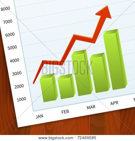 Positive Business Sales Graph On Wood Background