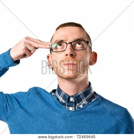 Man Making Suicide Gesture Over White Background