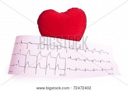 Heart analysis, electrocardiogram graph (ECG), red heart