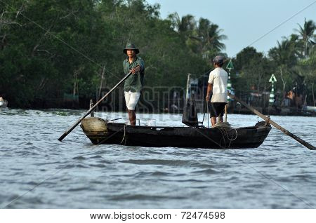 Fishermen In The Mekong Delta, Vietnam